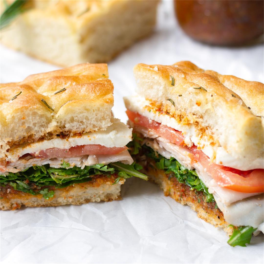 Turkey Mozzarella Focaccia Sandwich