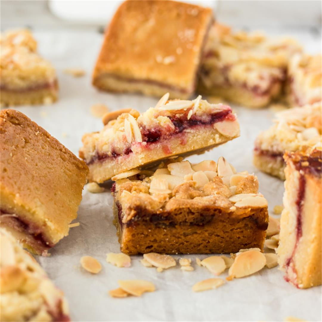 Raspberry Almond Shortbread Bars