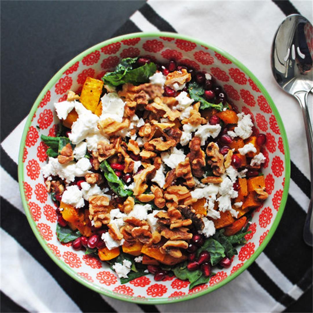 Roasted Butternut, Feta + Pomegranate Kale Salad