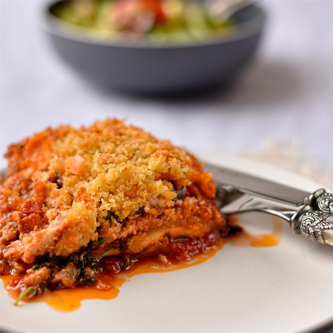 aubergine, tomato and Parmesan bake