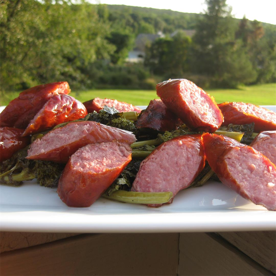 Grilled Kielbasa and Broccoli Rabe