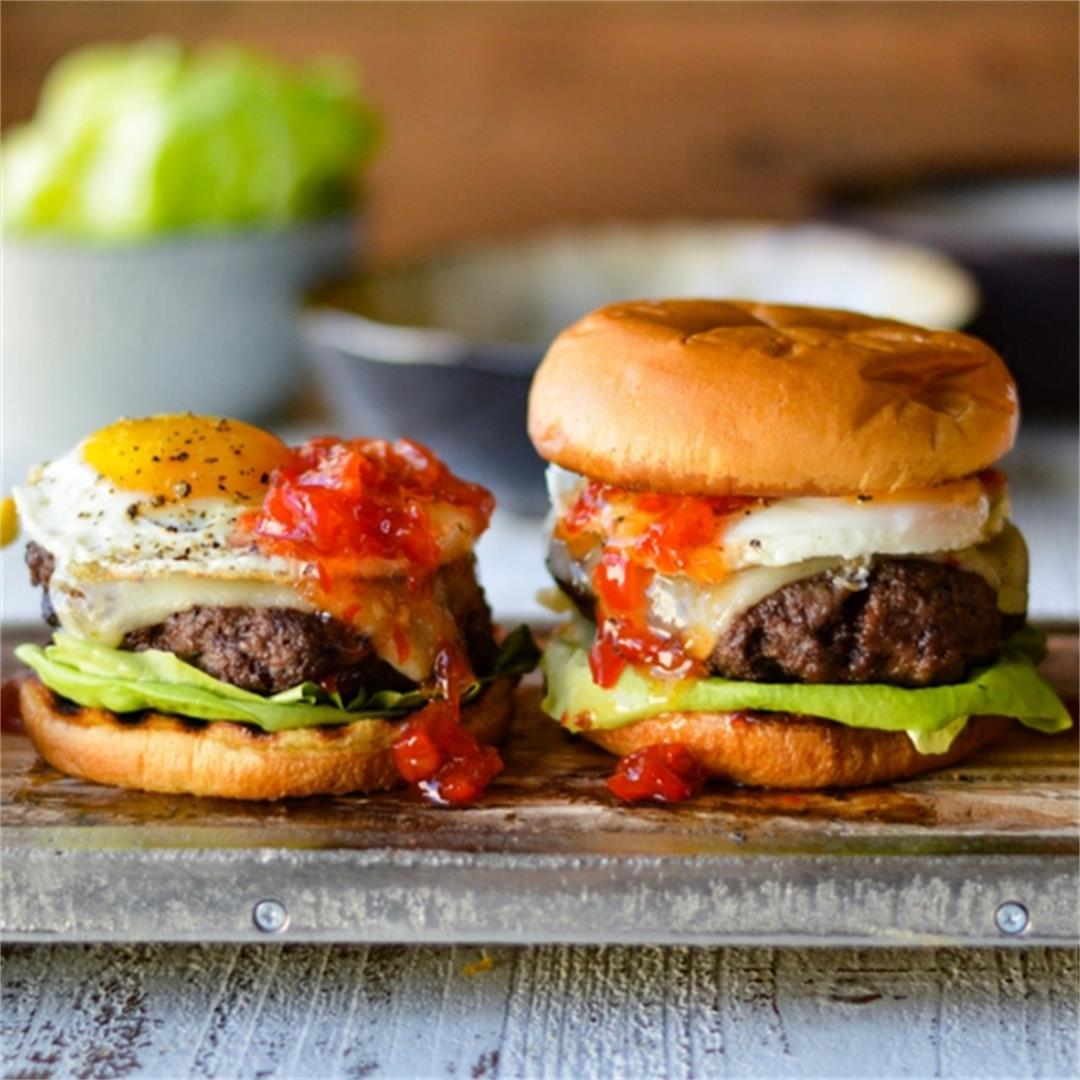 Bison Burgers with Peppadew Jam and Sunny-Side-Up Egg