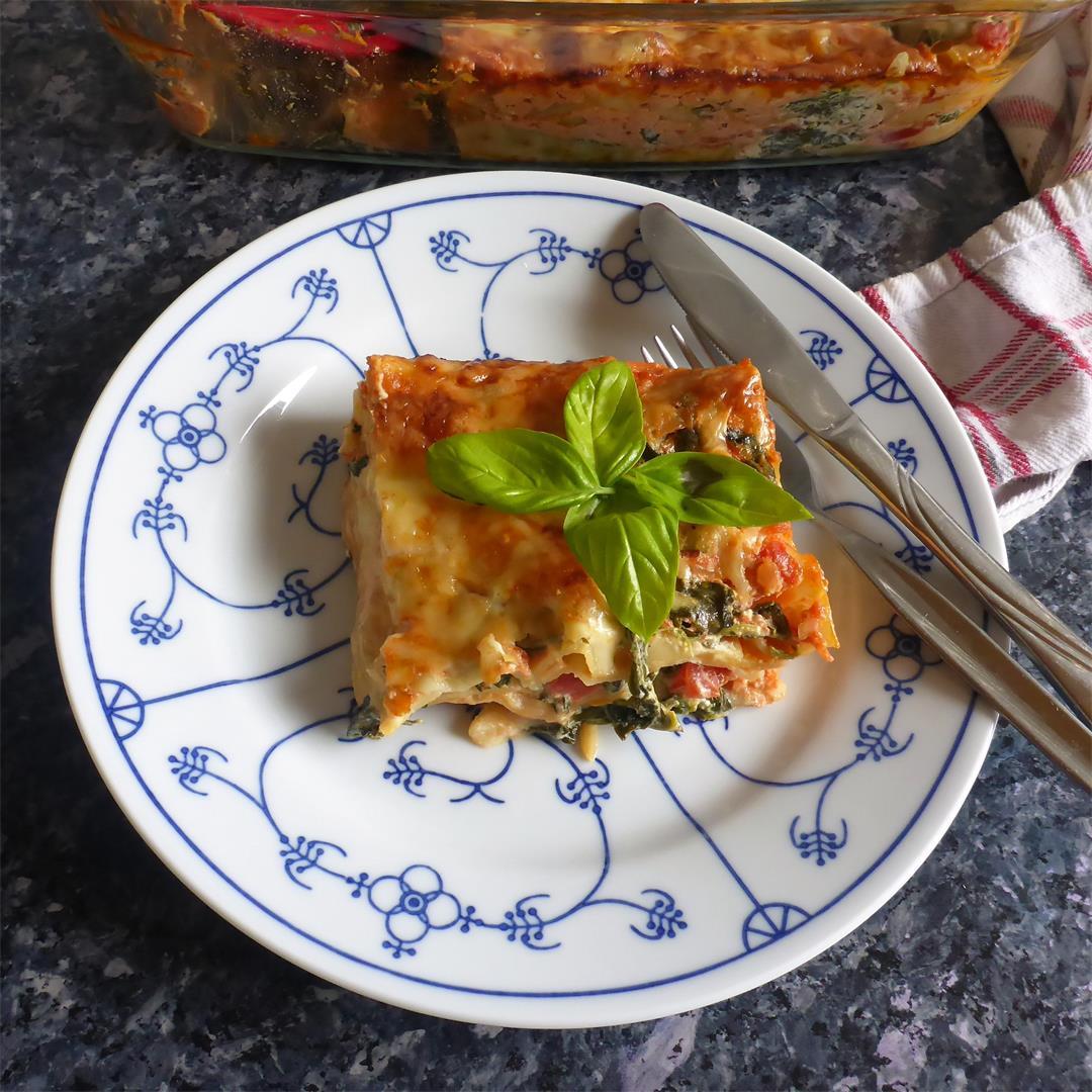 World's best spinach cream cheese lasagna