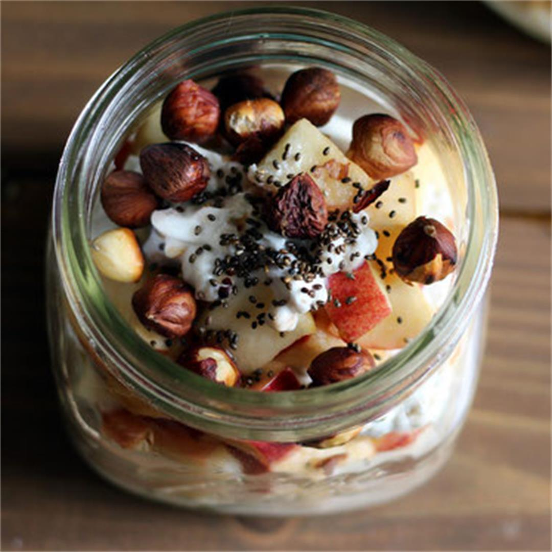 Overnight Barley Breakfast Bowl with Maple and Chia Seeds