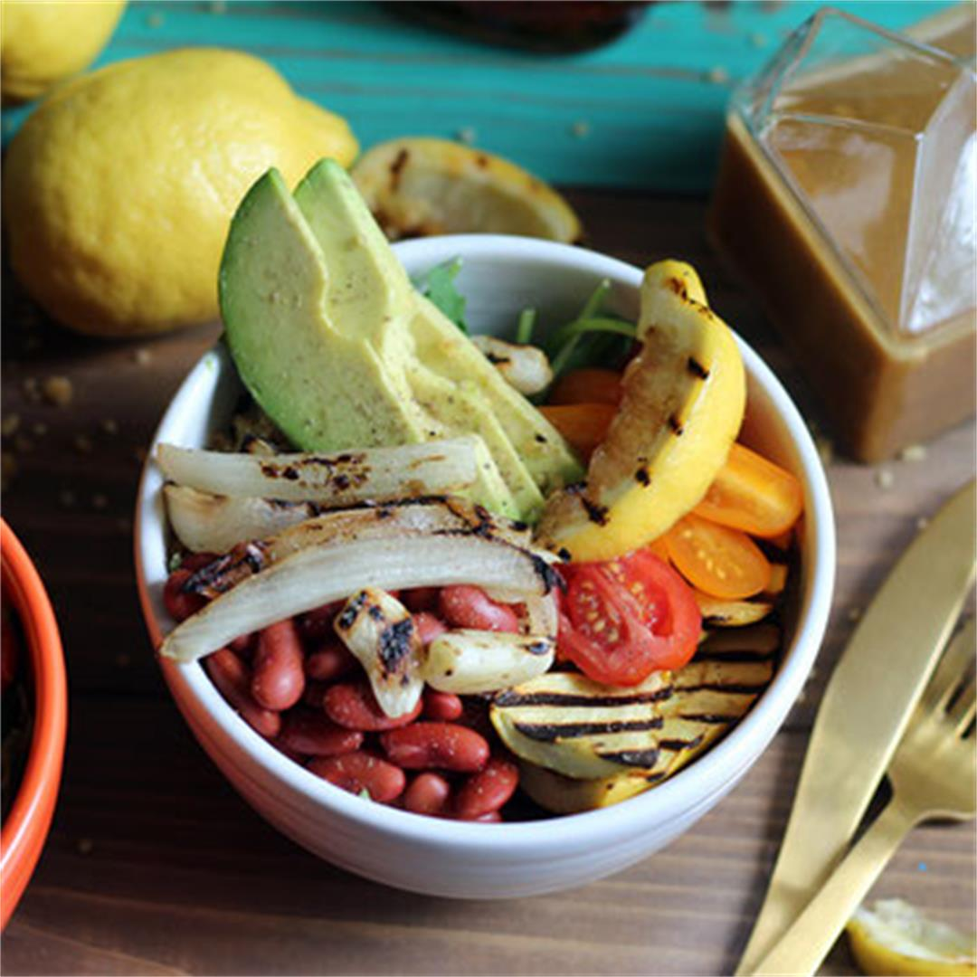 Summer Vegetarian Grain Bowl with Maple-Dijon Dressing