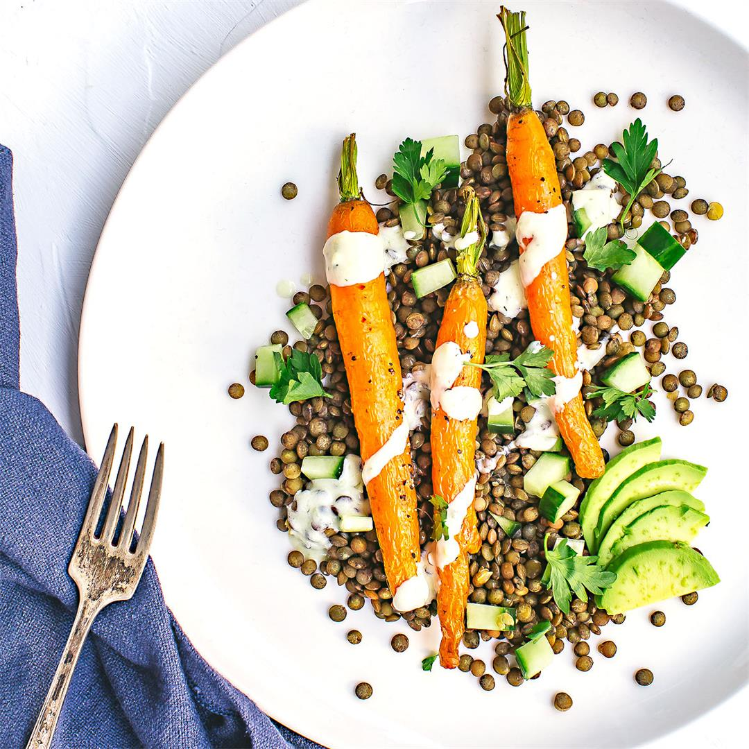 Roasted Carrot & Lentil Salad with Creamy Avocado Dressing