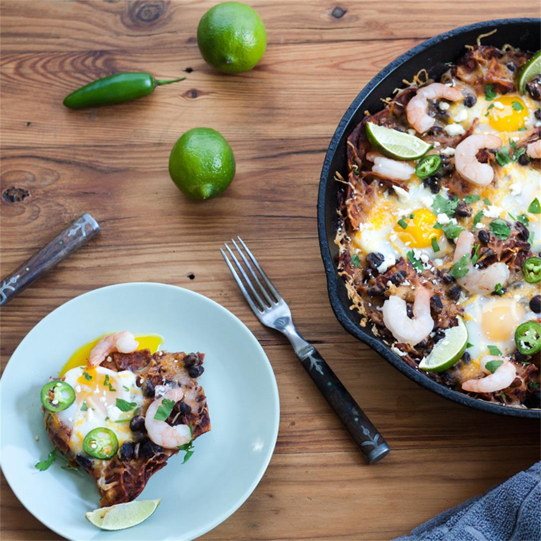 Baked Chilaquiles with Shrimp