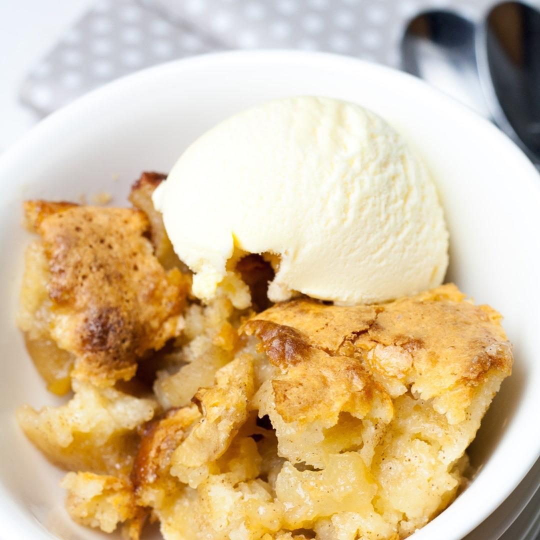 Pie Dish Apple Cake with Sticky Toffee Edges