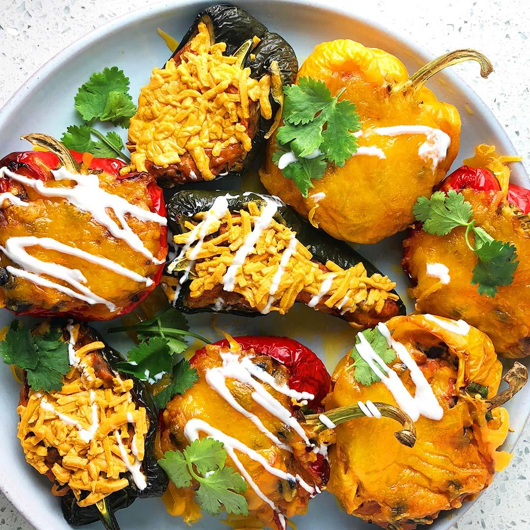 Chipotle Cheese Stuffed Peppers : Vegan, Vegetarian, & Meat