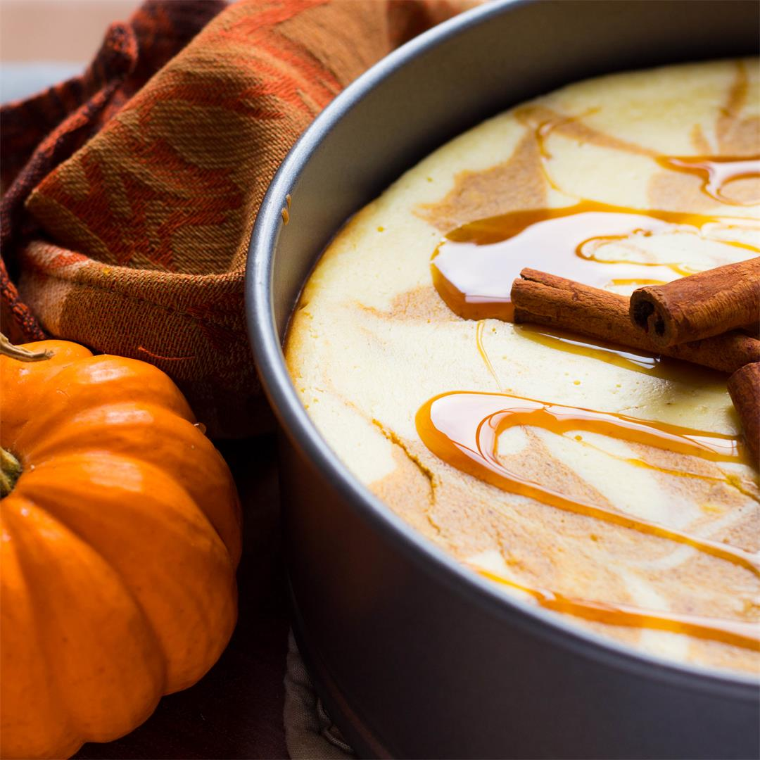 Caramel Pumpkin Swirl Cheesecake with Gingersnap Crust