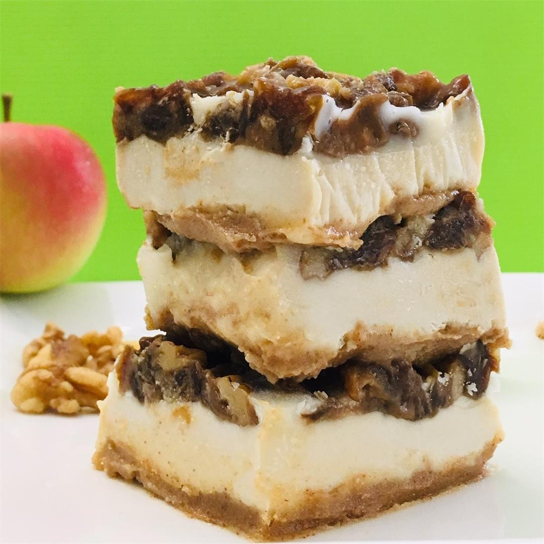 Cheesecake Squares Topped with Apples, Walnuts & Salted Caramel