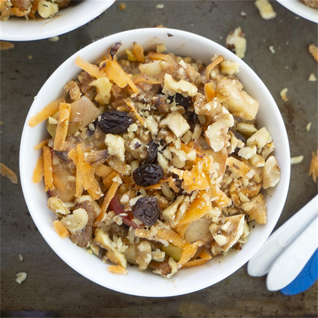 Apple Walnut Steel Cut Oats with Carrots and Raisins