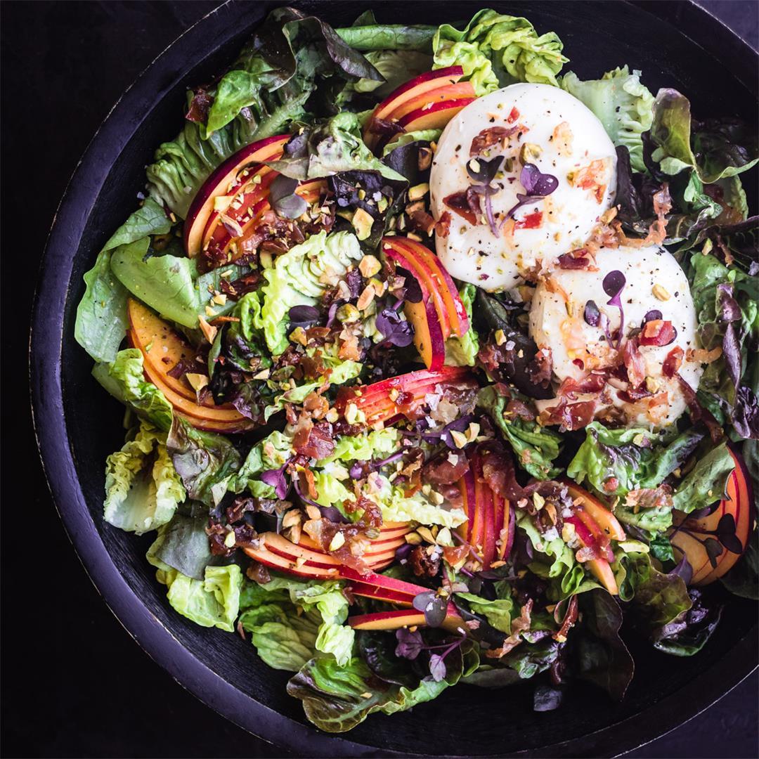 Stone Fruit & Prosciutto Salad ~ Burrata