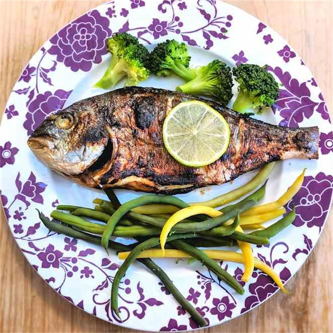 Grilled balsamic sea bream