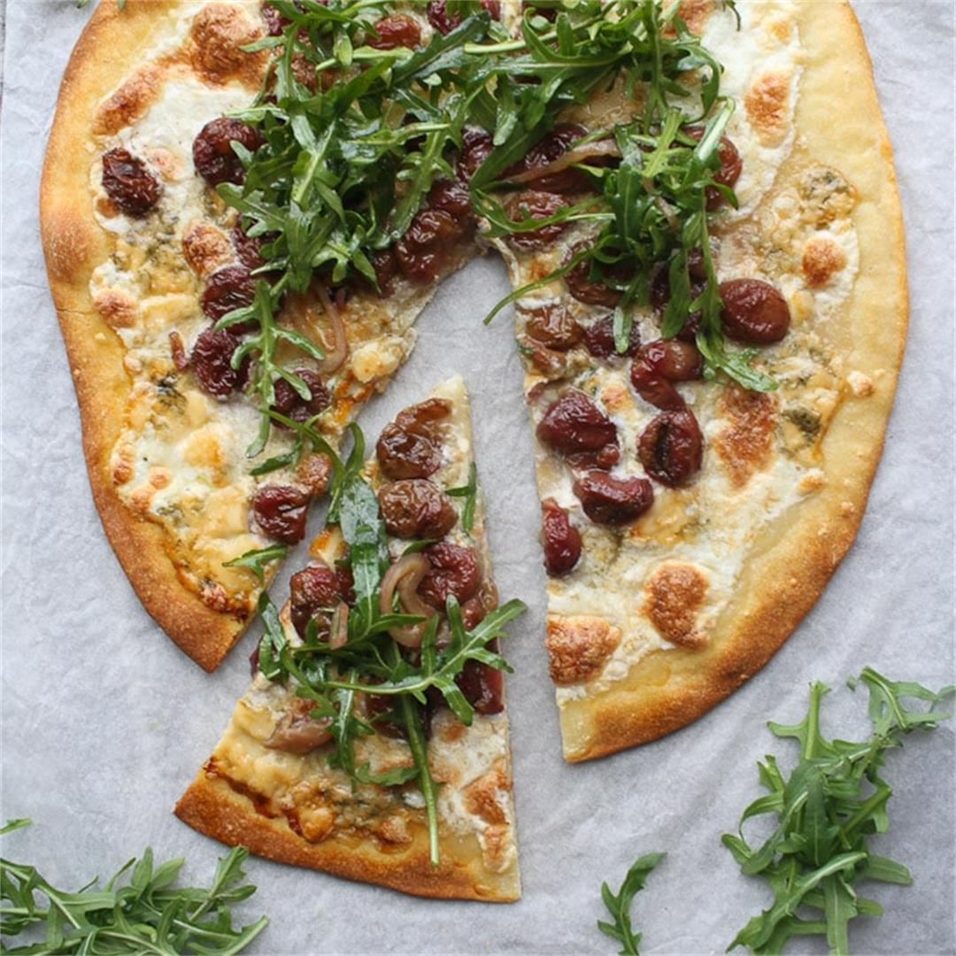 Arugula Pizza with Roasted Grapes (Vegetarian)