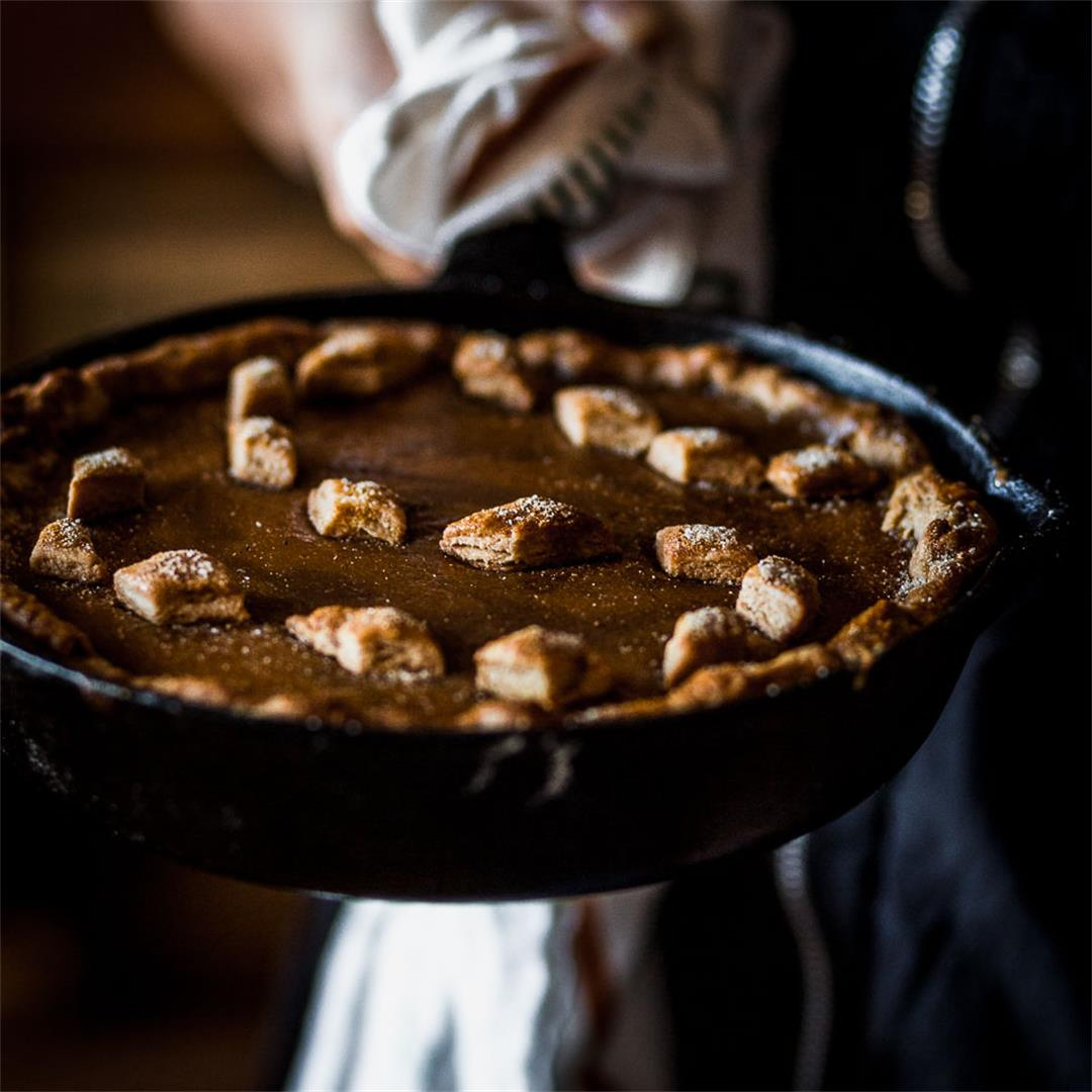 Cast Iron Winter Squash Pie with a honey whole wheat crust