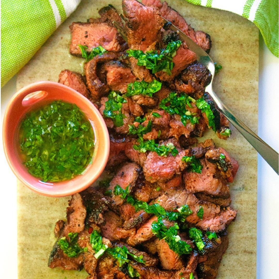 Cocoa rubbed steak with chimichurri