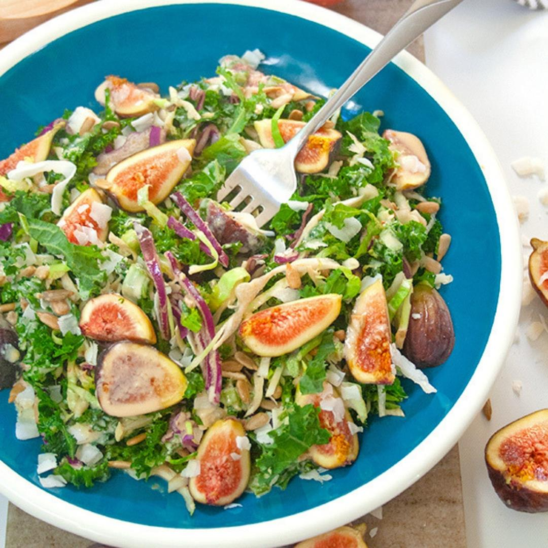 Fall Fig and Kale Salad with Tahini Dressing