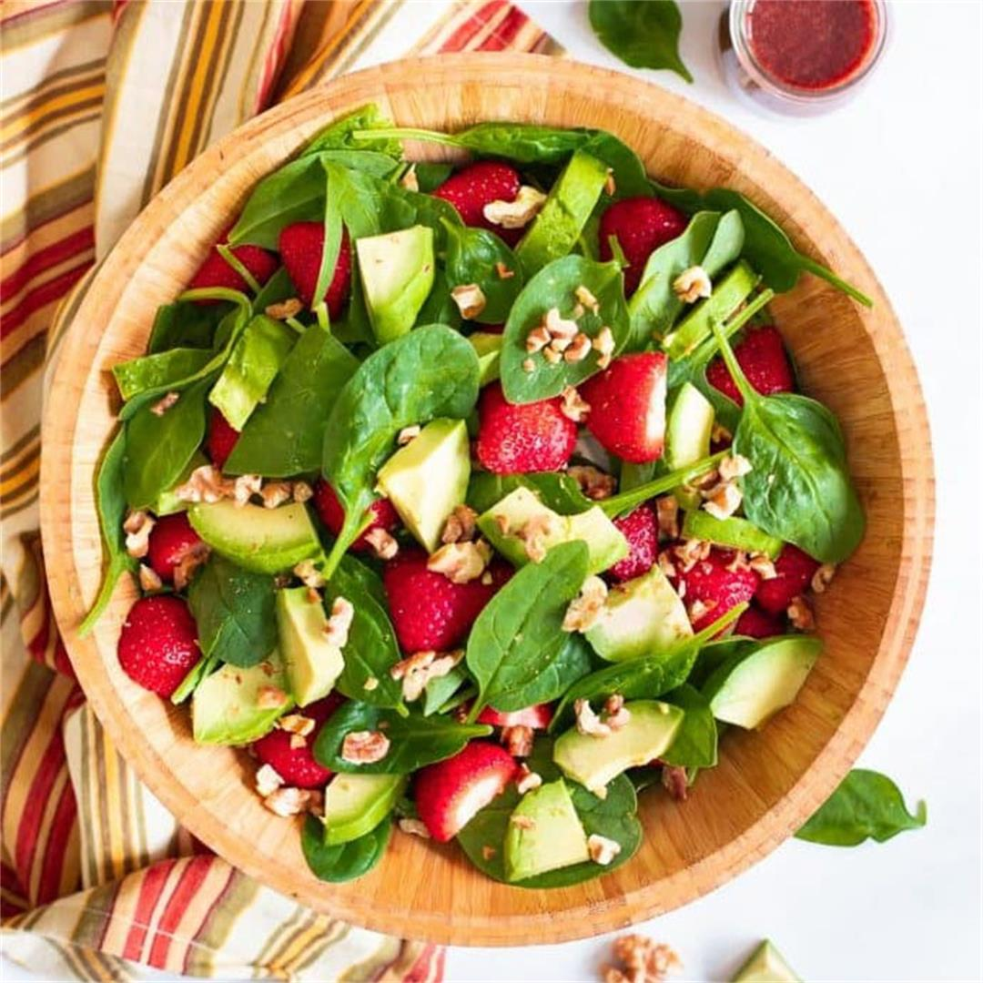 Strawberry Spinach Salad with Oil-Free Strawberry Vinaigrette