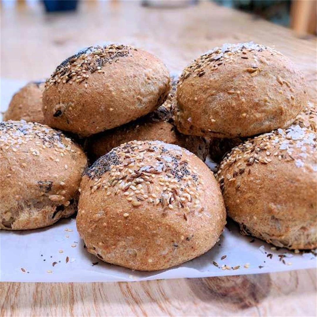 Seeded wholemeal and spelt bread rolls