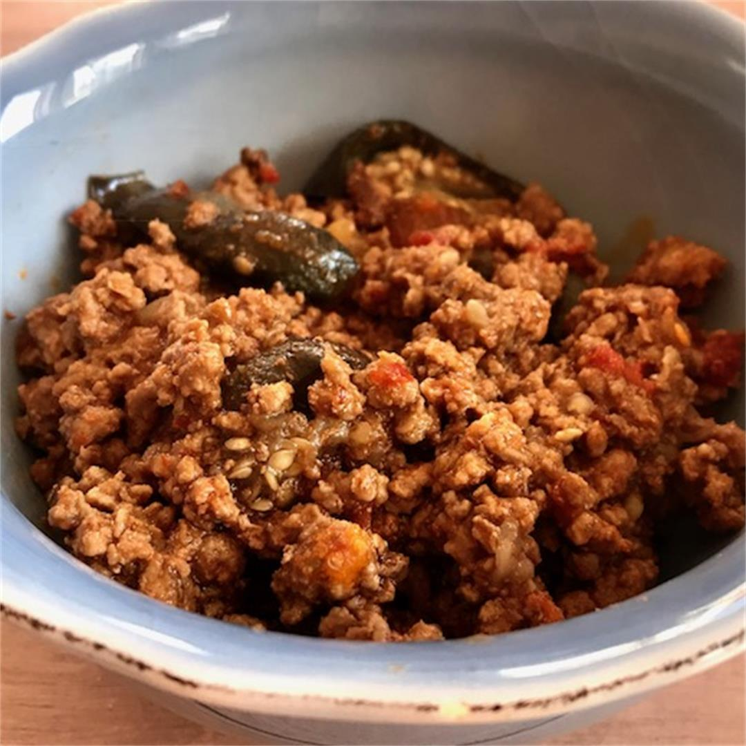 Low carb, gluten free, a comforting spicy lamb mince