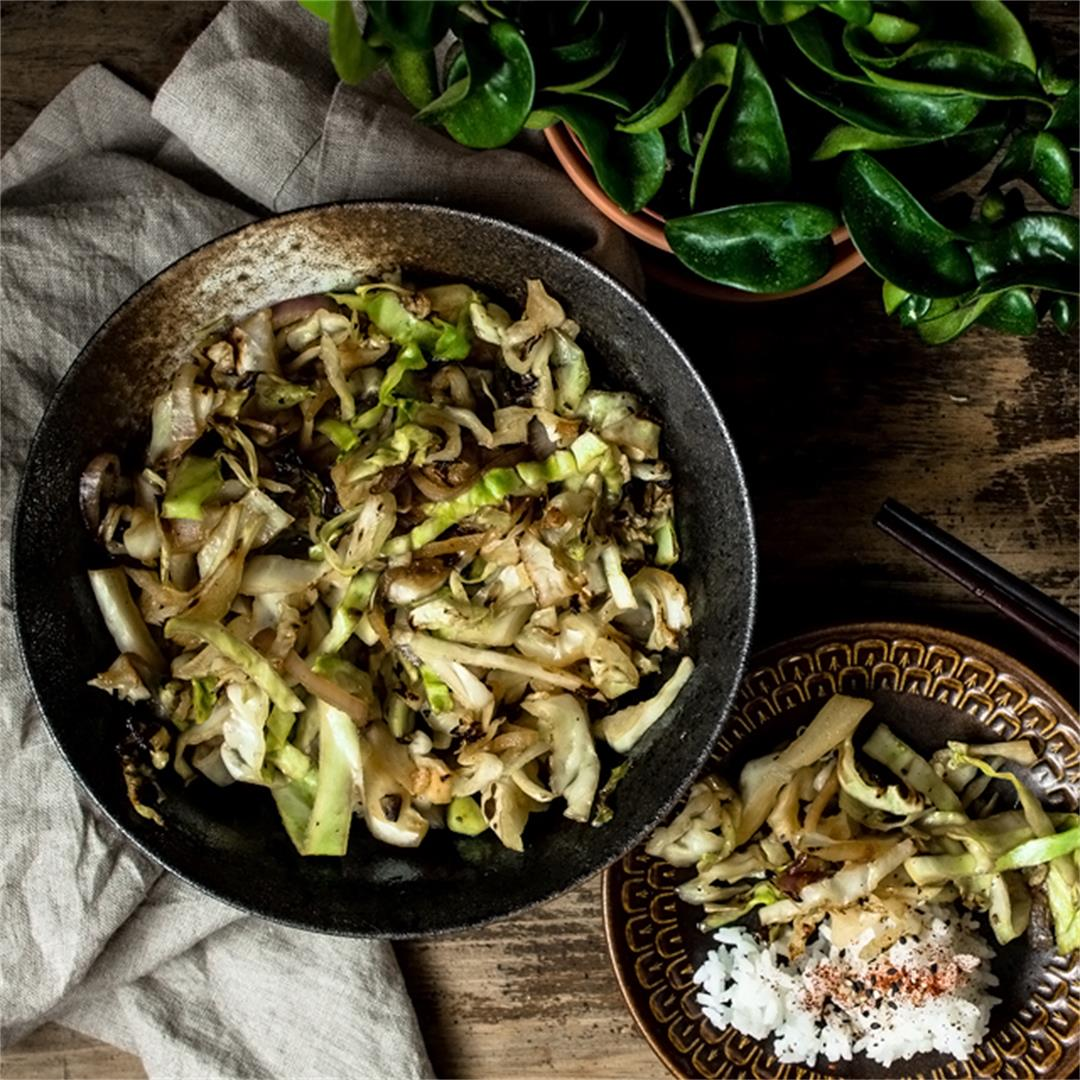 Ginger Soy Fried Cabbage