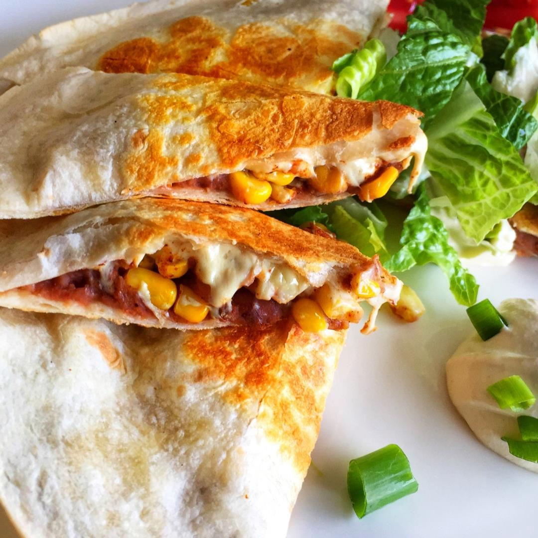 Easy Vegan Re-Fried Bean Quesadillas