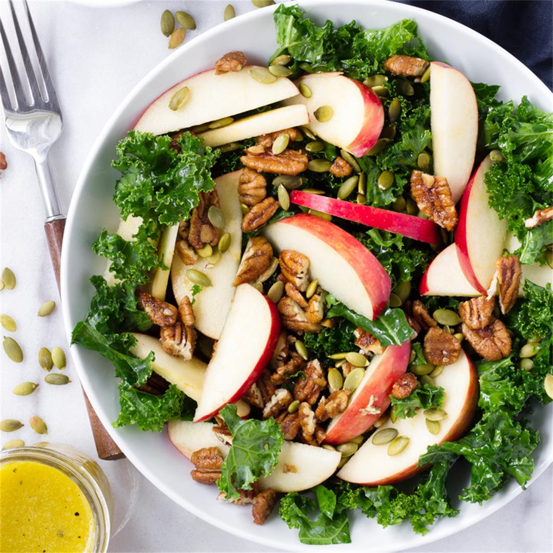 Kale and Apple Salad with Candied Pecans and Pumpkin Seeds