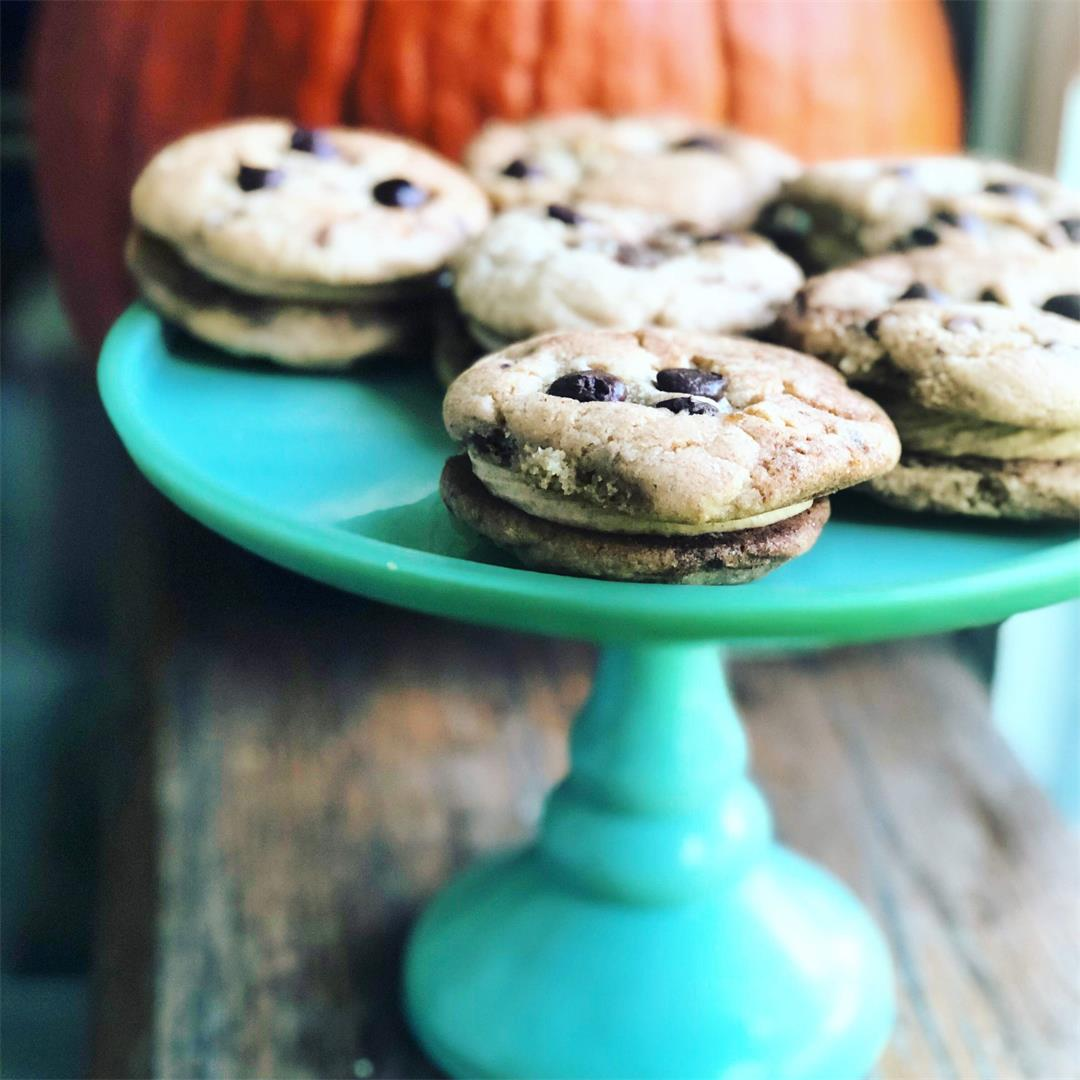 Cinnamon Chip Cookie Sandwiches with Pumpkin Frosting