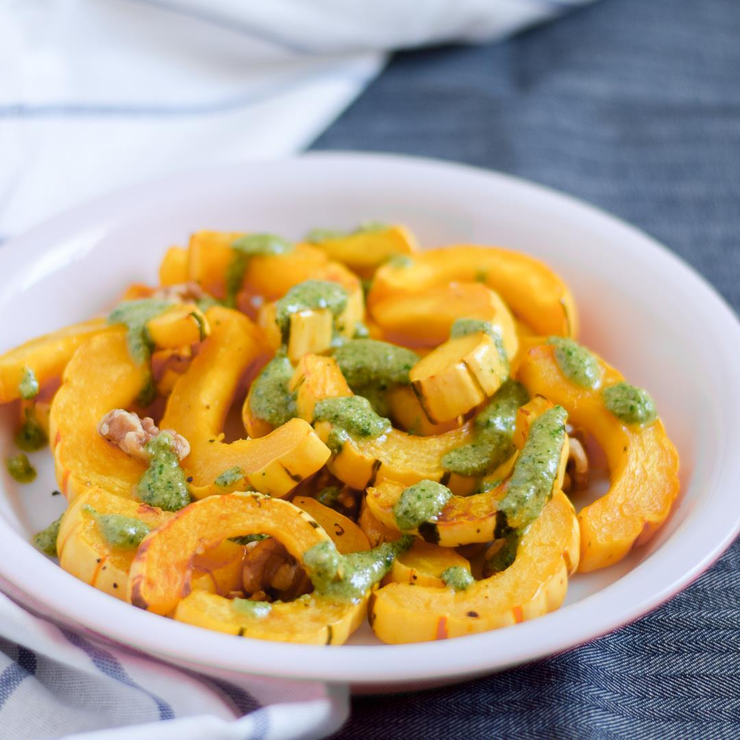 Roasted Delicata Squash with Herb Pesto