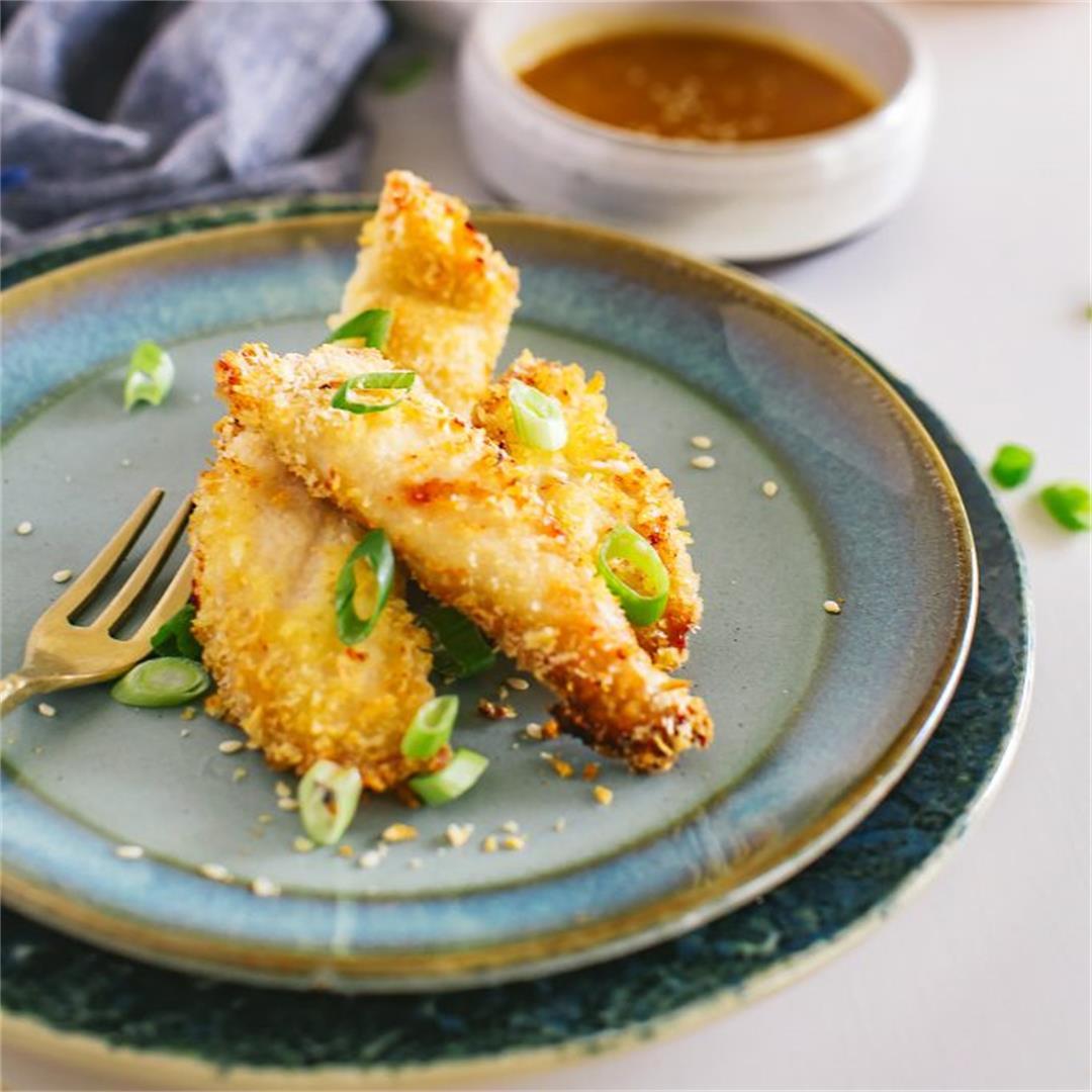 Panko Chicken Fingers and Miso Honey Mustard