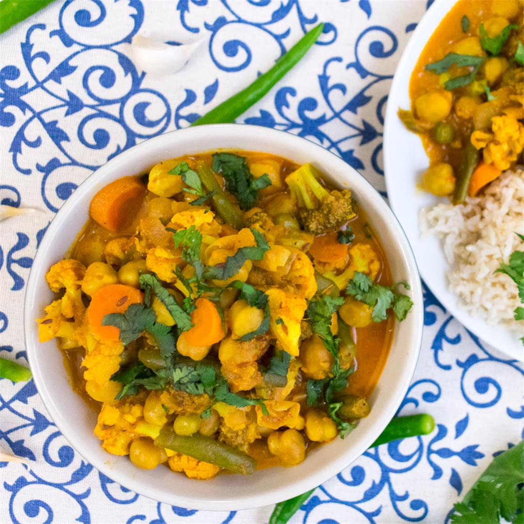 Chickpeas And veggie Curry.