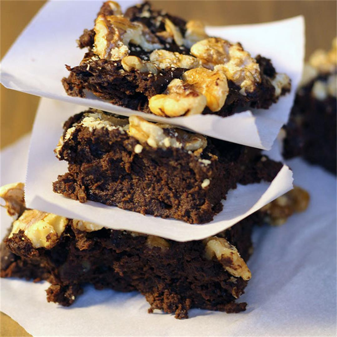 Walnut Avocado Prune Brownies