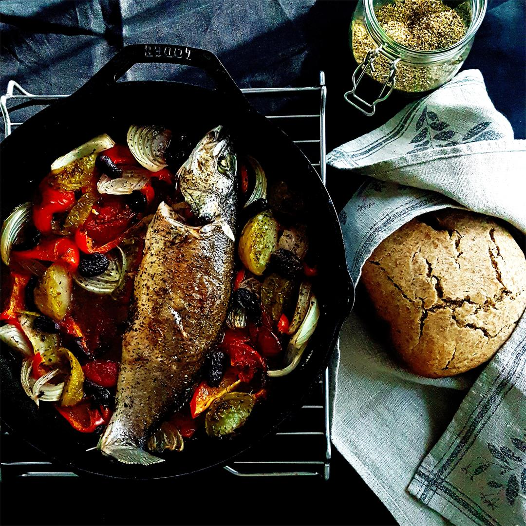 Baked Seabass with peppers