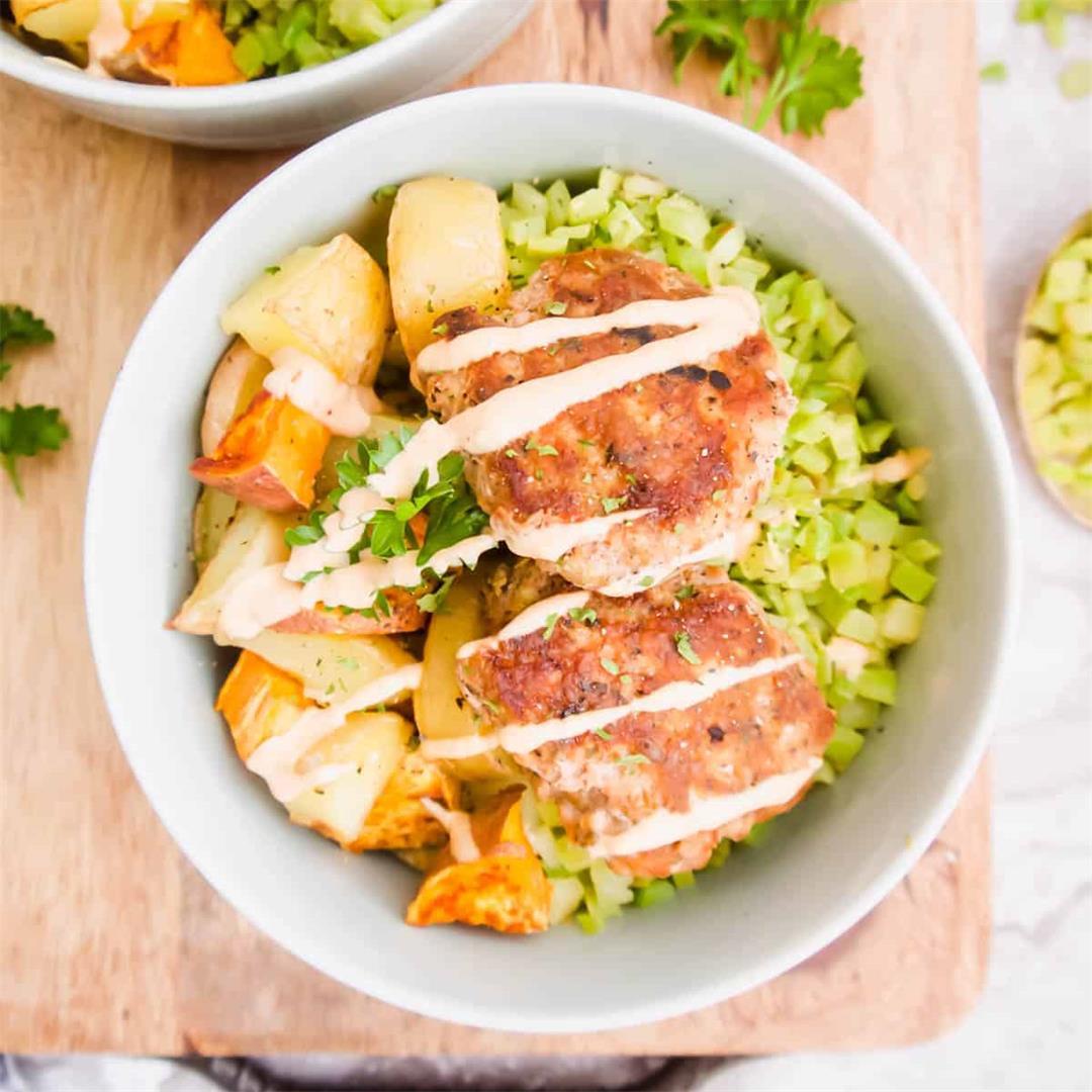 Turkey Patty, Potato And Broccoli Rice Bowls (Paleo, Whole30)