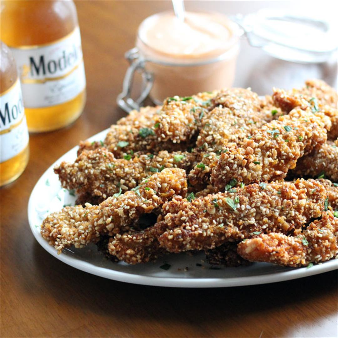Corn Flake, Almond & Sesame Chicken Strips