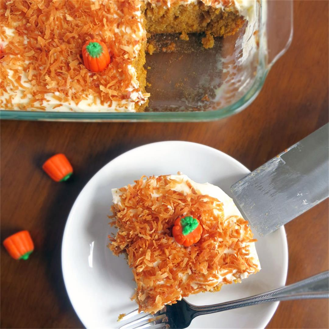 Pumpkin Coconut Cake- Pumpkin Cake Soaked in Cream of Coconut