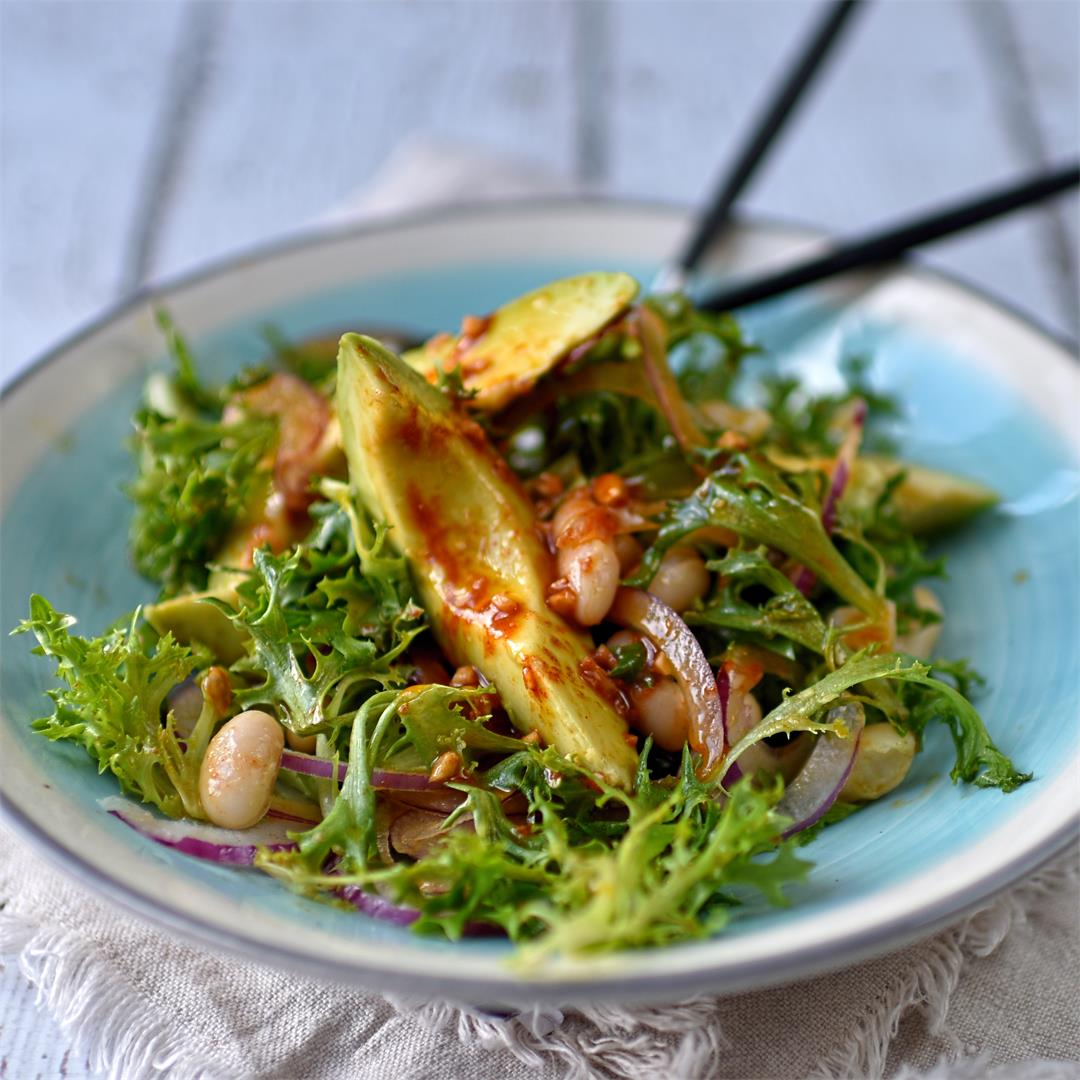 frisée, canellini bean and avocado salad