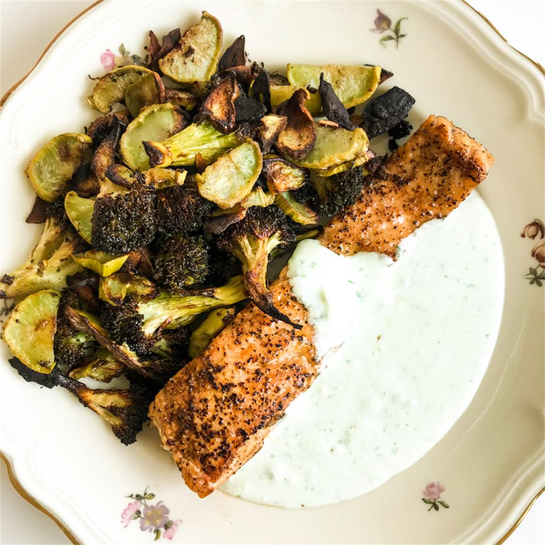 Lemon Pepper Salmon with Garlic Roasted Broccoli & Feta Sauce