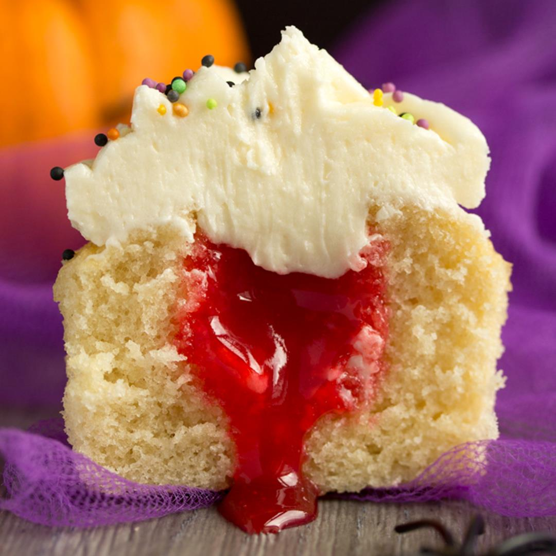 Easy 'Bloody Surprise' Halloween Cupcakes