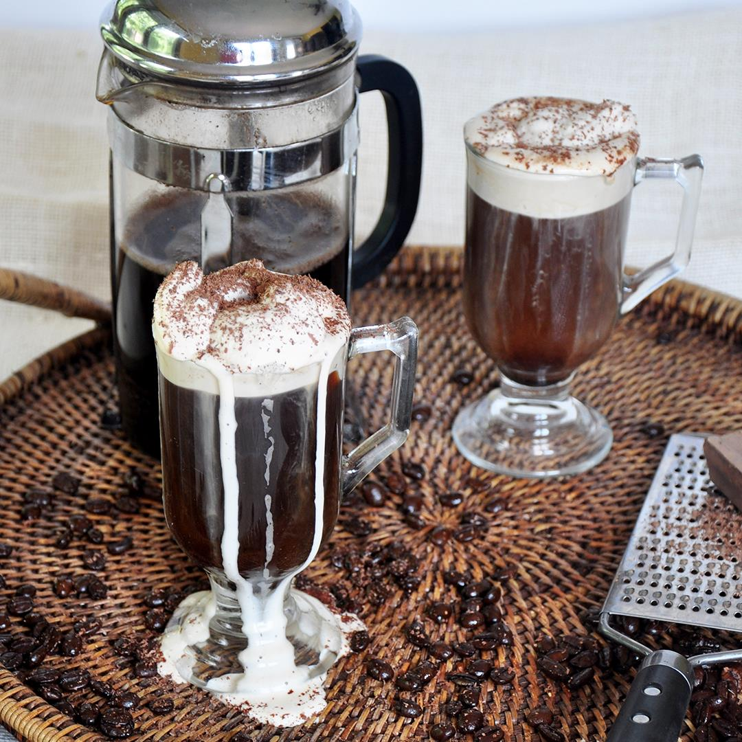 White Russian Coffee with Kahlua Whipped Cream