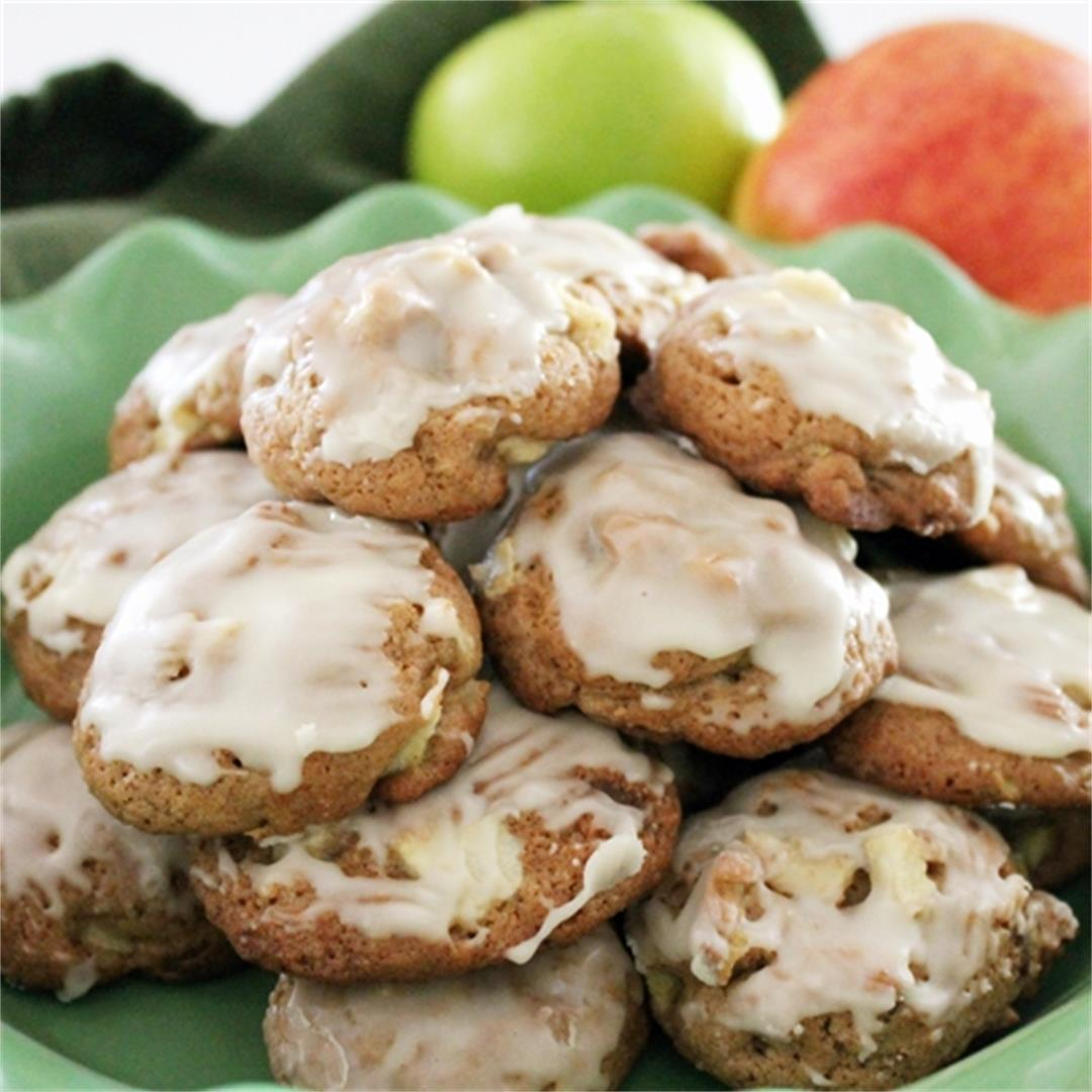 Glazed Soft Apple Cookies
