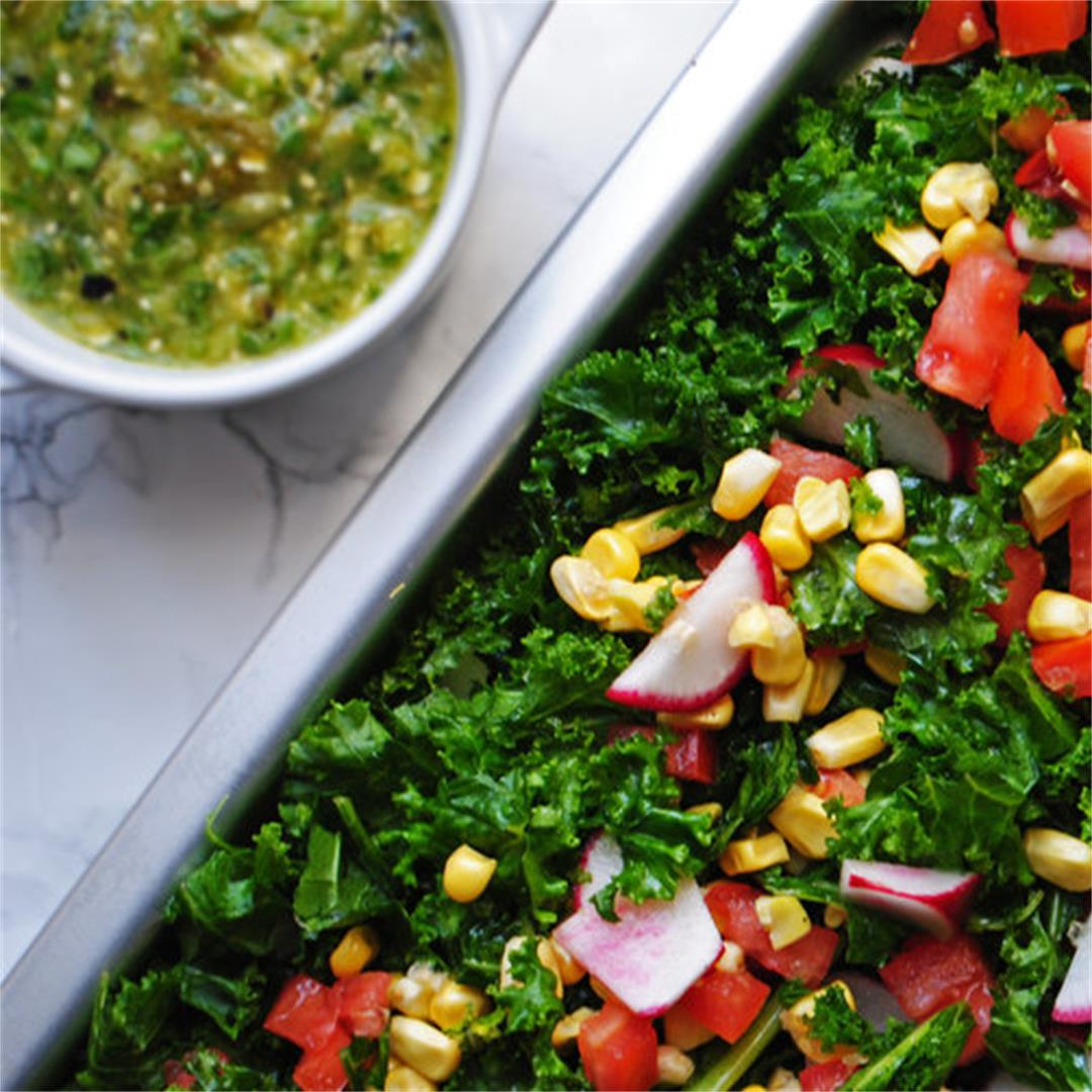 Colorful Kale Salad with Tomatillo Dressing