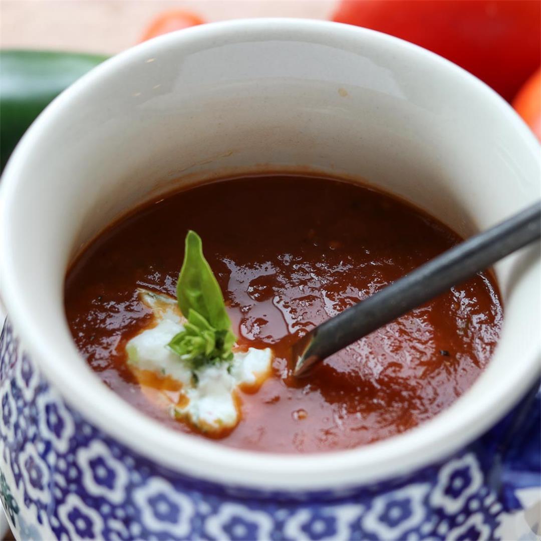 Homemade Fresh Roasted Tomato Jalapeño Soup