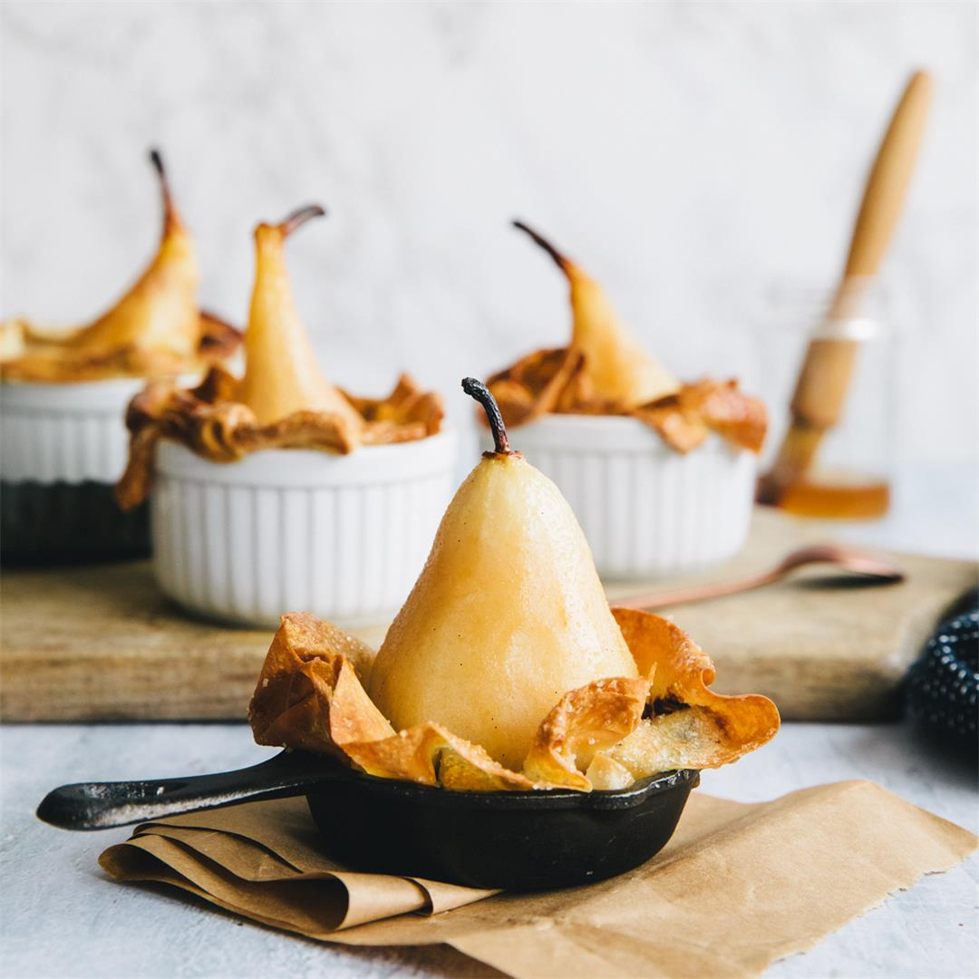 Chocolate stuffed baked pears