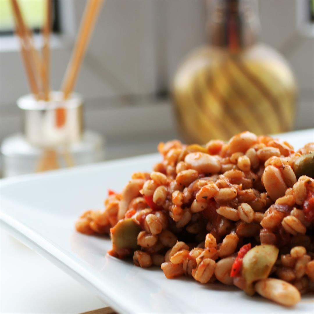 Spicy Italian Barley Risotto (Vegan)