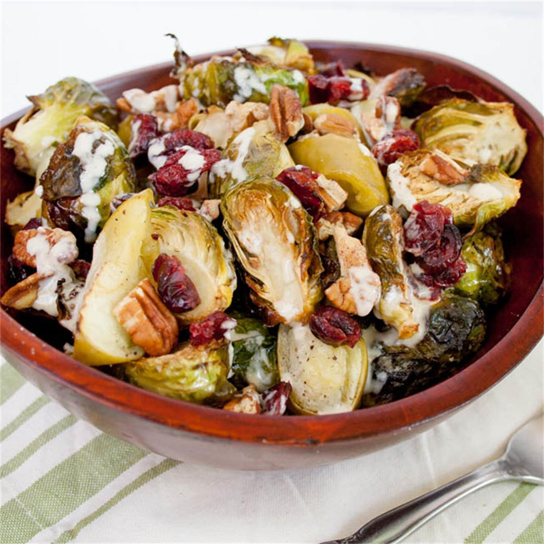 Roasted Brussels Sprouts and Apples with Tahini Dressing