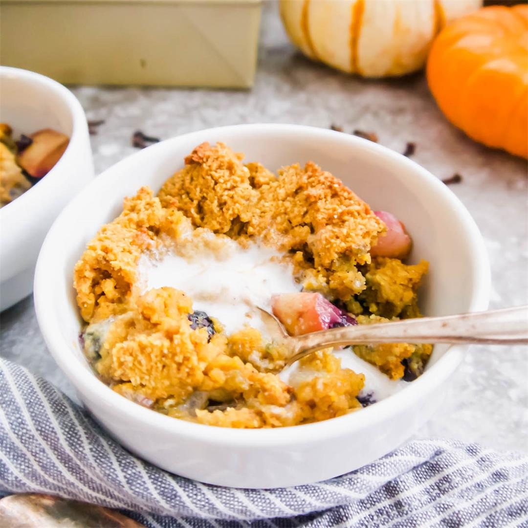 Pear And Blueberry Pumpkin Cookie Cobbler (Paleo, GF)