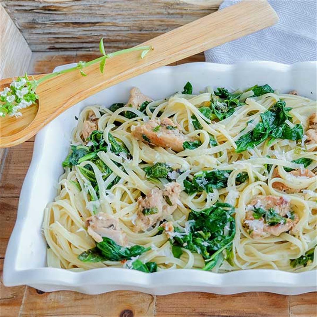 Simple Chicken & Spinach Parmesan Linguini (Gluten-Free)