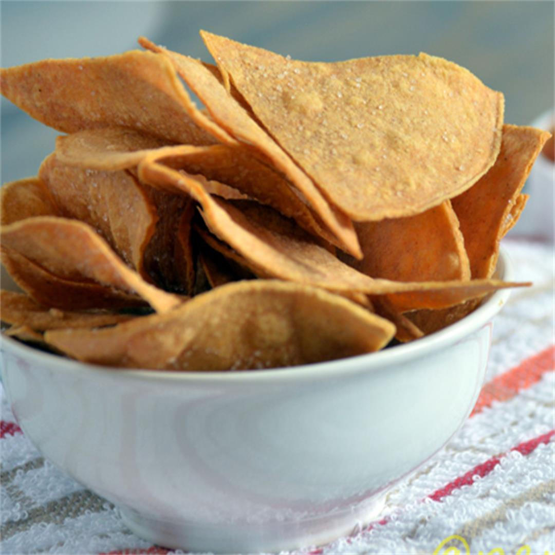 Baked Tortilla chips, easy and healthy